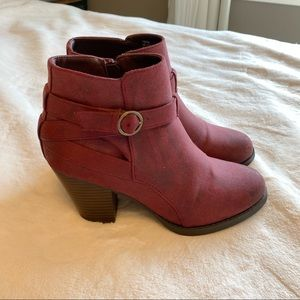 JustFab Maroon Ankle Boots